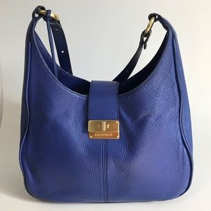 Brahmin Quinn shoulder bag cobalt pebbled leather